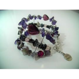Bracelet Ämë, hématites, améthyste et métal argenté.